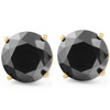 2 Ct Black Diamond Studs 14k Yellow Gold Earrings (Black, I2-I3)