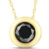 1 1/10ct Black Diamond Bezel Solitaire Pendant 14K Yellow Gold (Black, AAA)