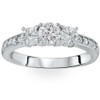 1ct Diamond 3 Three Stone Engagement Ring 10K White Gold (I/J, I2-I3)