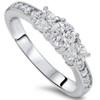 1ct Diamond 3 Three Stone Engagement Ring 10K White Gold (I/J, I2-I3)