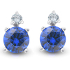 3/4 cttw Diamond & Synthetic Blue Sapphire Studs 14k White Gold Womens Earrings (G, I2)