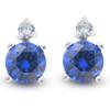 Blue Sapphire & Diamond 3/4ct Studs 14K White Gold (G, I2)