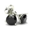 1.00Ct Round Brilliant Cut Heat Treated Black Diamond Stud Earrings in 14K Gold Martini Setting (Black, AAA)