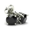 1.25Ct Round Brilliant Cut Heat Treated Black Diamond Stud Earrings in 14K Gold Basket Setting (Black, AAA)