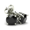 .20Ct Round Brilliant Cut Heat Treated Black Diamond Stud Earrings in 14K Gold Basket Setting (Black, AAA)