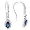 1 3/8ct Oval Blue sapphire & Diamond Halo Hoops Dangle Lever Back Earrings 18K (F-G, VS)