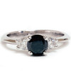 1 3/8ct Black Diamond Engagement Accent Anniversary Ring 14k White Gold (G/H, SI)