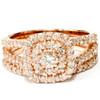 1 1/10ct Diamond Cushion Halo Engagement Wedding Ring Set 10k Rose Gold (I/J, I1-I2)