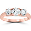 1ct Three Stone Solitaire Diamond Anniversary Engagement Ring 14k Rose Gold (G/H, I1)