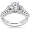 2 ct Diamond Vintage Engagement Wedding Ring Set 14k White Gold (G/H, I1-I2)