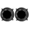 3ct 14k Black Gold Round Black Diamond Screw Back Studs Earrings (Black, AAA)