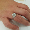 1 1/3 ct Halo Diamond Engagement Ring 14k White Gold Lab Created (((G-H)), SI(1)-SI(2))