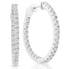 "1 1/2 ct Diamond Inside Outside Hoops Vault Lock 1"" Tall 14k White Gold (G, VS)"