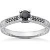 1/2 ct Black Diamond Vintage Engagement Ring 14k White Gold (H/I, I1-I2)