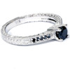 1/2 ct Black Diamond Vintage Engagement Ring 14k White Gold (H/I, I1-I2)