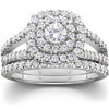1 1/10ct Cushion Halo Diamond Engagement Wedding Ring Set 10K White Gold (G/H, I1-I2)