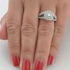 1 1/10ct Cushion Halo Diamond Engagement Wedding Ring Set 10K White Gold (G/H, I1-I2)