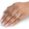 1/4ct 3 Stone Blue Sapphire Diamond Ring 14k White Gold (G/H, I1-I2)