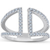 1/2ct Diamond Ring Open Fashion Right Hand Split Band White Gold (I, I2-I3)