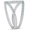 1/2ct Diamond Ring Open Fashion Right Hand Split Band White Gold (I, I2-I3)
