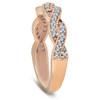 1/6ct Pave Diamond Braided Woven Wedding Ring 14K Rose Gold (G/H, I2)