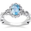 1 ct Oval Blue Topaz & Diamond Vintage Halo Vine Petal Ring 14k White Gold (H/I, I1-I2)