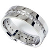 Mens 1 1/10ct Diamond Eternity Comfort Wedding Band 14k White Gold Ring (G/H, I1)