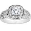 1 1/3ct Vintage Cushion Halo Engagement Diamond Ring Antique Filigree 14K Round (G/H, I1-I2)