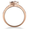 1 1/4ct Raw Round Cut Diamond Slice Engagement Ring 14k Rose Gold (F, I2-I3)