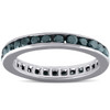 1 1/2ct Treated Black Diamond Channel Set Eternity Ring 14K White Gold (Black, )