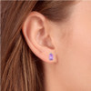 1 3/4ct Emerald Amethyst Stud Earrings 14k Yellow Gold (I, I2)