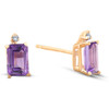1 3/4ct Emerald Amethyst Stud Earrings 14k Yellow Gold (I, I2)