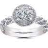 1 ct Lab Grown Diamond McKenna Halo Engagement Ring & Matching Band 14k Gold (F, VS)