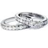 2 1/6ct 3-Stone Diamond Engagement Wedding Ring Set 10K White Gold (I/J, I1-I2)