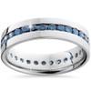 1 1/5ct Blue Diamond Channel Set Eternity Ring 14K White Gold (Blue, I1)