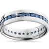 1 1/5ct Blue Diamond Channel Set Eternity Ring 14K White Gold (Blue, I1)