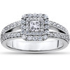 1 ct Princess Cut Diamond Double Halo Engagement Ring 14k White Gold (H/I, I1-I2)