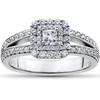 1 ct Princess Cut Diamond Double Halo Engagement Ring 14k White Gold (H/I, I1-I2)