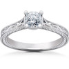 1/2ct Lab Grown Vintage Scroll Solitaire Sophia Engagement Ring 14k White Gold (F, VS/SI)