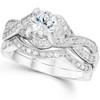1 1/2ct Infinity Vintage Diamond Engagement Ring Set 14K White Gold (G/H, I1-I2)