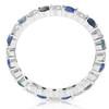 1 1/2ct Sapphire & Diamond Eternity Wedding Ring 14K White Gold (G/H, I1)