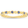 14k Yellow Gold Blue Sapphire Ring 1/8ct Womens Stackable Beaded Band