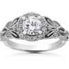 1 1/5 Ct Vintage Halo Diamond Antique Floral Engagement Ring 14k White Gold (H/I, I1-I2)