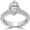 1 1/2ct Marquise Halo Diamond Engagement Wedding Ring Set White Gold Enhanced (I/J, I1-I2)