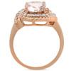 1 3/4ct Morganite Diamond Vintage Halo Engagement Anniversary Ring 14K Rose Gold (G/H, I1)