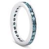 1 1/2ct Blue Diamond Channel Set Eternity Ring 14K White Gold (Blue, I1)