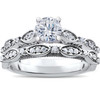 1 ct Vintage Diamond Engagement Ring & Matching Wedding Band Set 14k White Gold (H/I, I1-I2)