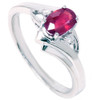 5/8ct Oval Ruby & Diamond Ring 14K White Gold (G/H, I1)