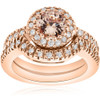 1 3/8 Ct Morganite & Diamond Engagement Ring Set 14K Rose Gold (G/H, I2-I3)