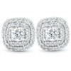 "1/2 Ct TDW Genuine Diamond Cushion Halo Studs 10k White Gold 1/3"" (IJ, I1)"